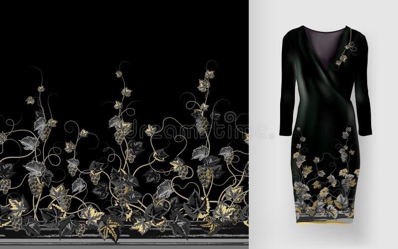 Vector el modelo de vides con las hojas y las bayas en maqueta clásica del vestido del ` s de las mujeres ilustración del vector