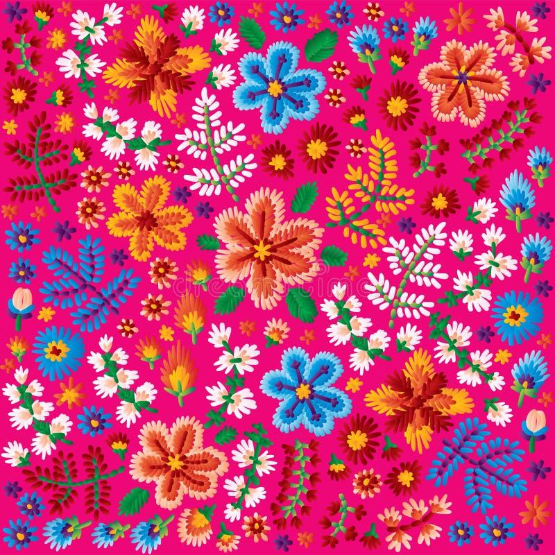 Vector el modelo decorativo del bordado de flores, el ornamento para la materia textil o la decoración interior Fondo hecho a man ilustración del vector