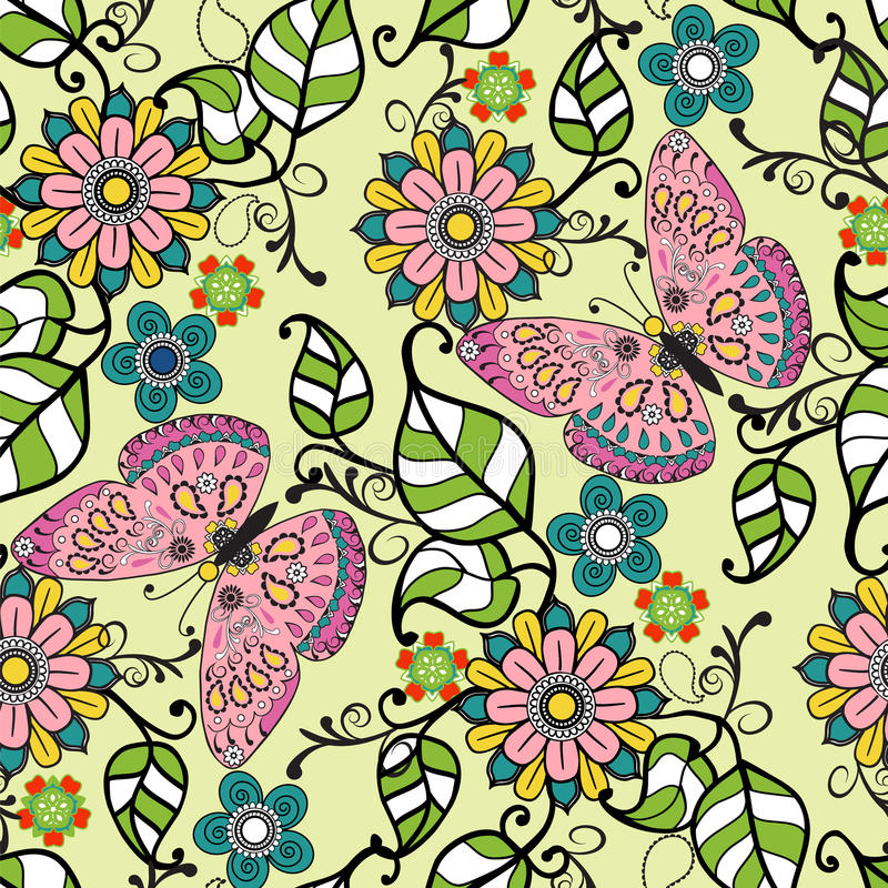 Vector el modelo decorativo dibujado mano con el flowe del ornamento floral ilustración del vector