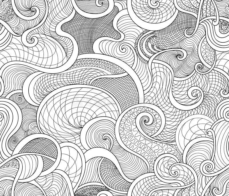Vector el modelo inconsútil abstracto con las líneas y los ornamentos que se encrespan ilustración del vector
