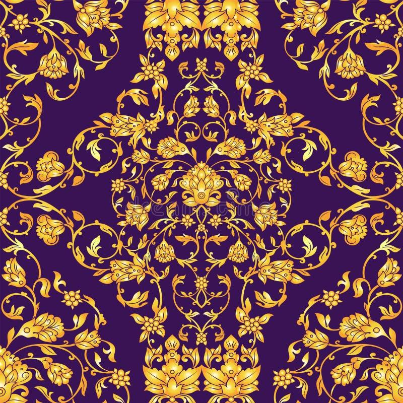 Vector el modelo inconsútil adornado en estilo del este en fondo de color violeta oscuro Decoración floral del vintage ornamental stock de ilustración