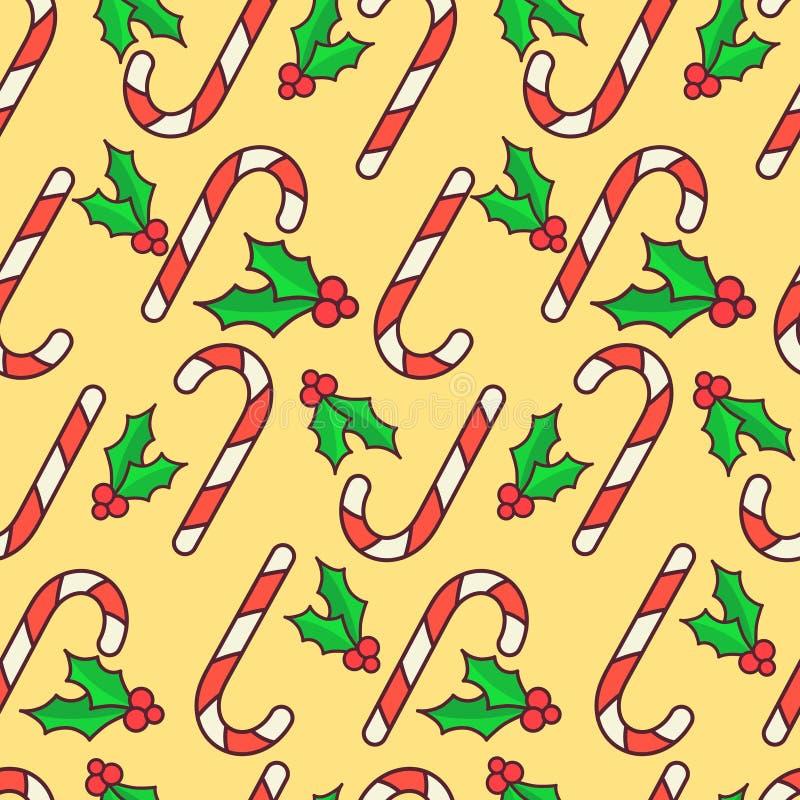 Vector el modelo inconsútil Bastones de caramelo y baya del acebo Diseño del papel de embalaje de la Navidad Fondo amarillo libre illustration