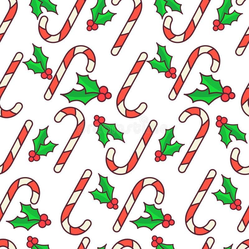 Vector el modelo inconsútil Bastones de caramelo y baya del acebo Diseño del papel de embalaje de la Navidad Fondo blanco ilustración del vector