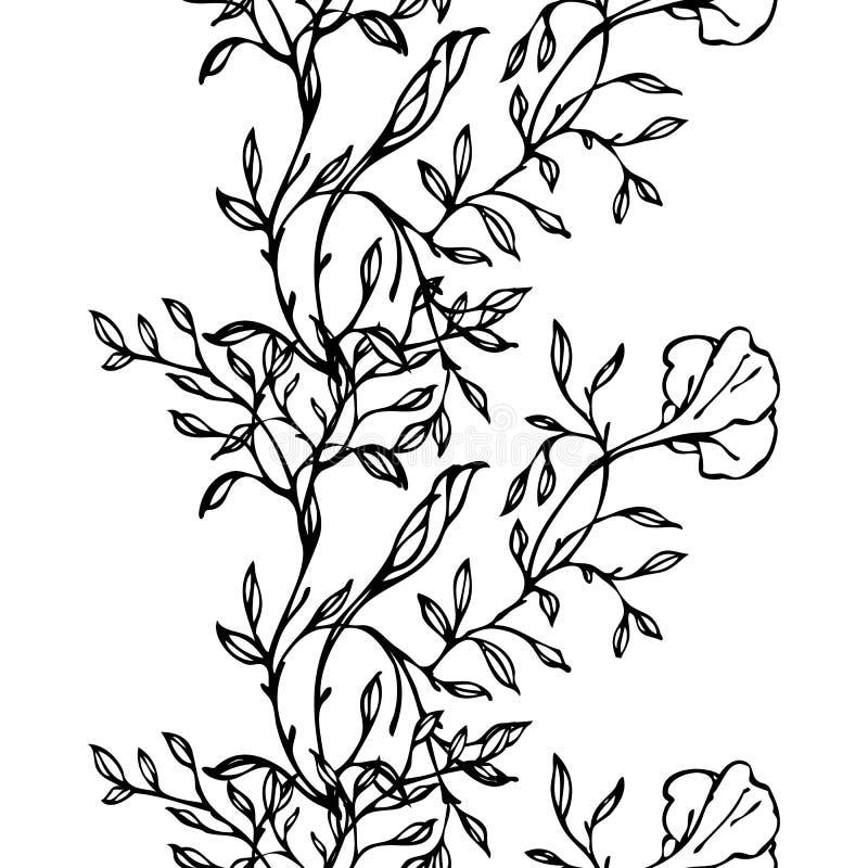 Vector el modelo inconsútil blanco y negro con las flores y las hojas ilustración del vector