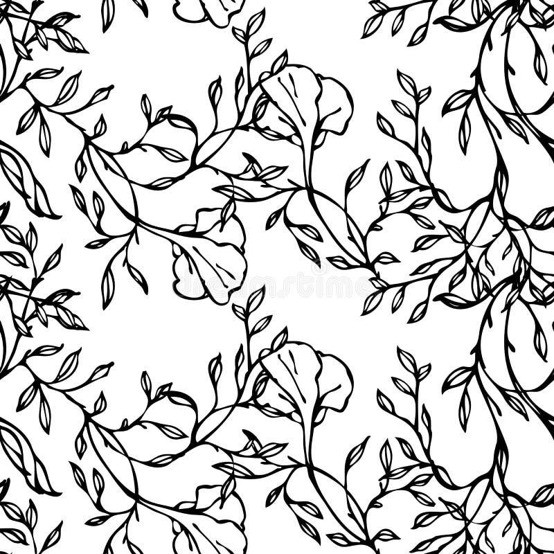 Vector el modelo inconsútil blanco y negro con las flores y las hojas stock de ilustración