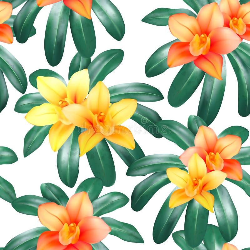 Vector el modelo inconsútil botánico con las hojas, las flores de la orquídea y las mariposas tropicales en negro Diseño del fond libre illustration
