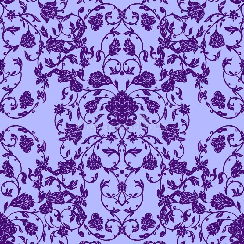 Vector el modelo inconsútil complejo en estilo del este en el color violeta Elementos adornados para el diseño Decoración ornamen stock de ilustración