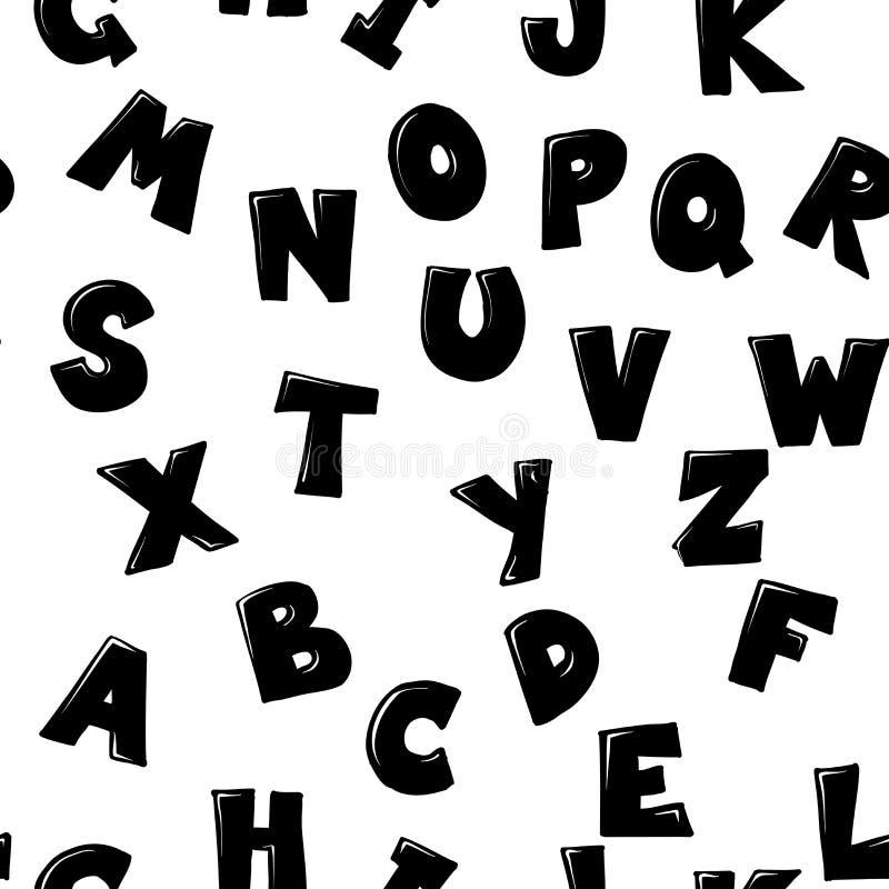 Vector el modelo inconsútil con alfabeto infantil dibujado mano del estilo ABC blanco y negro, estilo escandinavo stock de ilustración