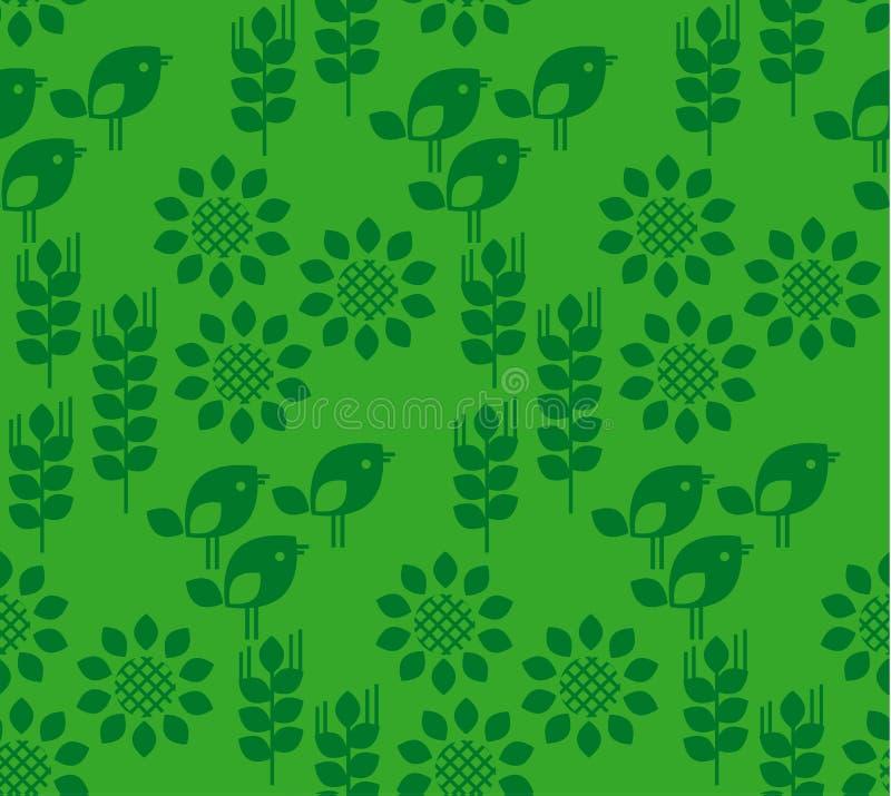 Vector el modelo inconsútil con el girasol floral, los pájaros y el trigo libre illustration