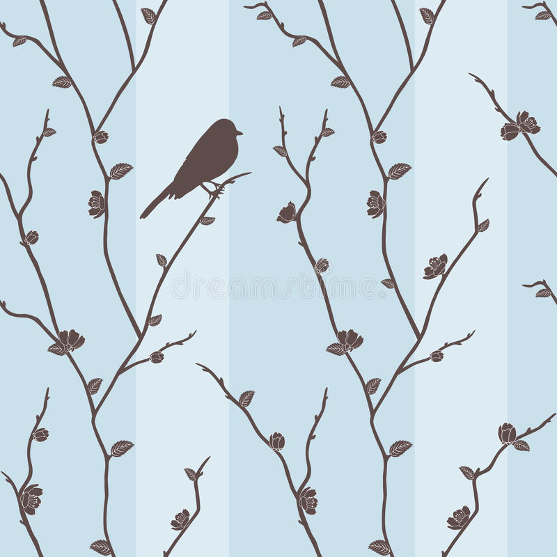 Vector el modelo inconsútil con el pájaro en sakura stock de ilustración