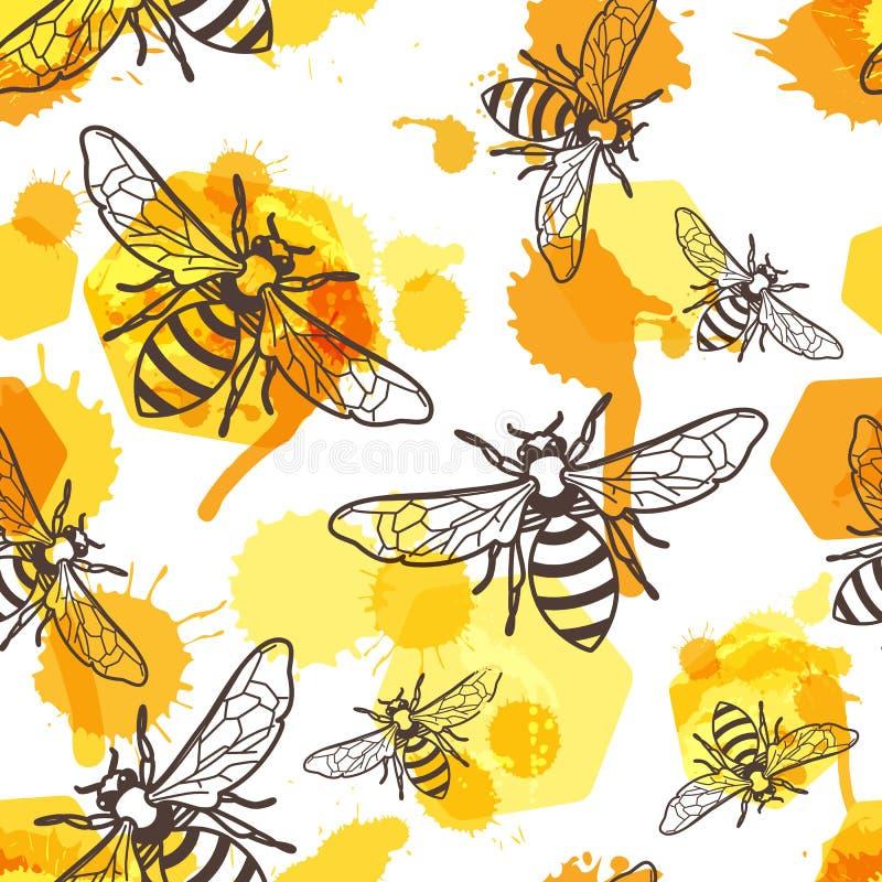 Vector el modelo inconsútil con la abeja linear, la miel líquida y los panales de la acuarela stock de ilustración