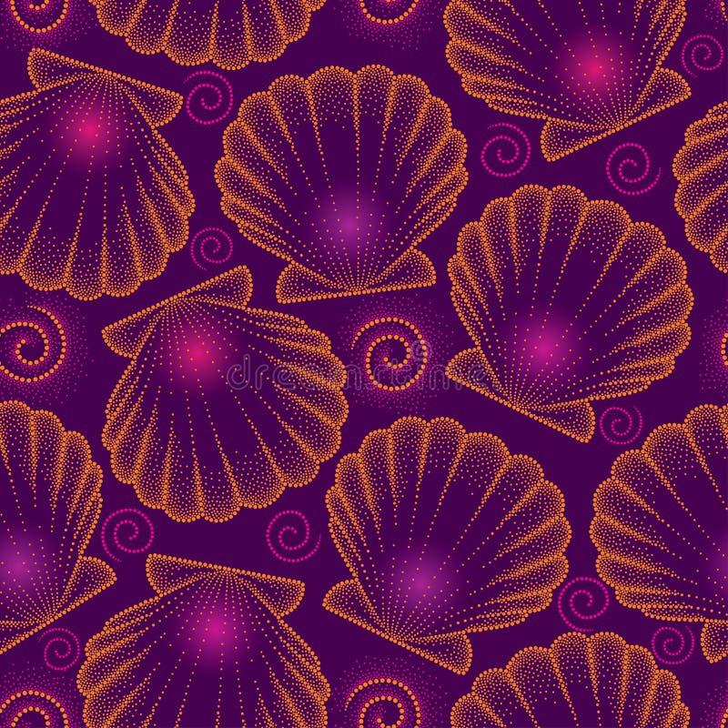 Vector el modelo inconsútil con la cáscara punteada del mar u hornéelo a la crema y con pan rallado en naranja en el fondo violet ilustración del vector