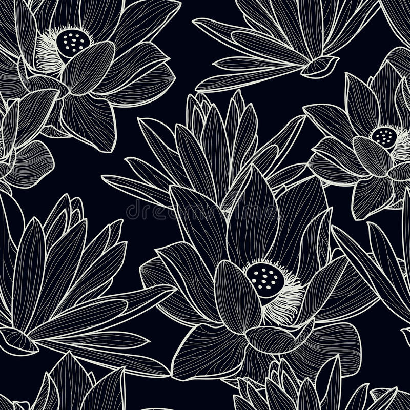 Vector el modelo inconsútil con la flor de loto hermosa dibujada mano stock de ilustración