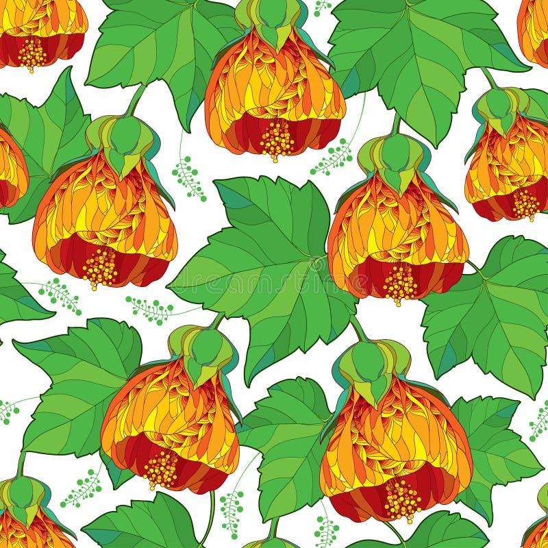 Vector el modelo inconsútil con la flor del Abutilon anaranjado del esquema o de la malva india y la hoja verde adornada en el fo libre illustration