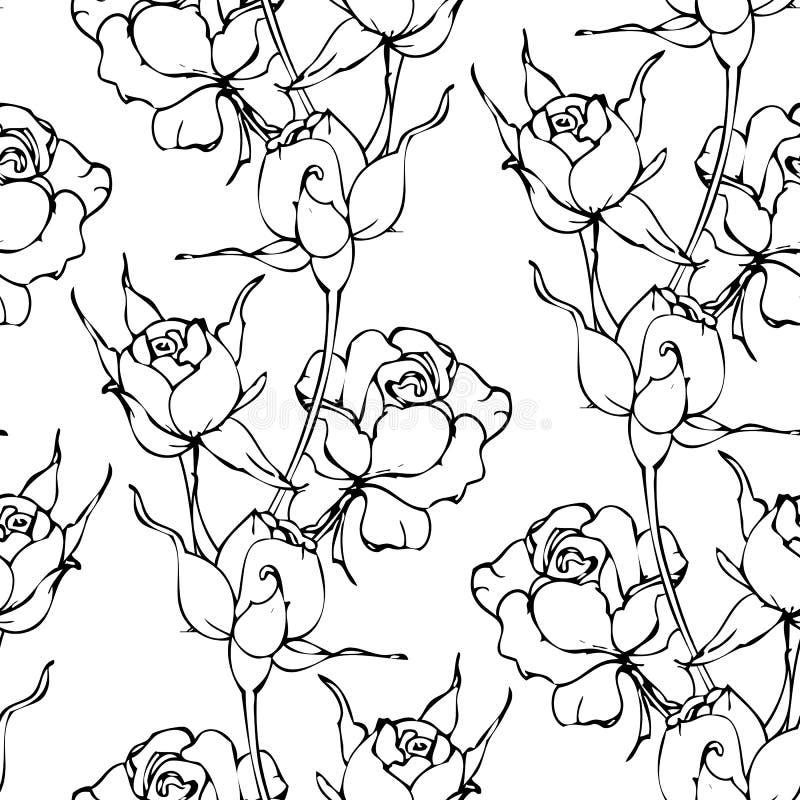 Vector el modelo inconsútil con la mano que dibuja las flores blancos y negros libre illustration