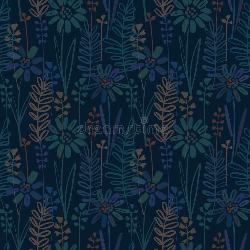 Vector el modelo inconsútil con la mano que dibuja las plantas silvestres, las hierbas y las flores, ejemplo botánico colorido, f ilustración del vector