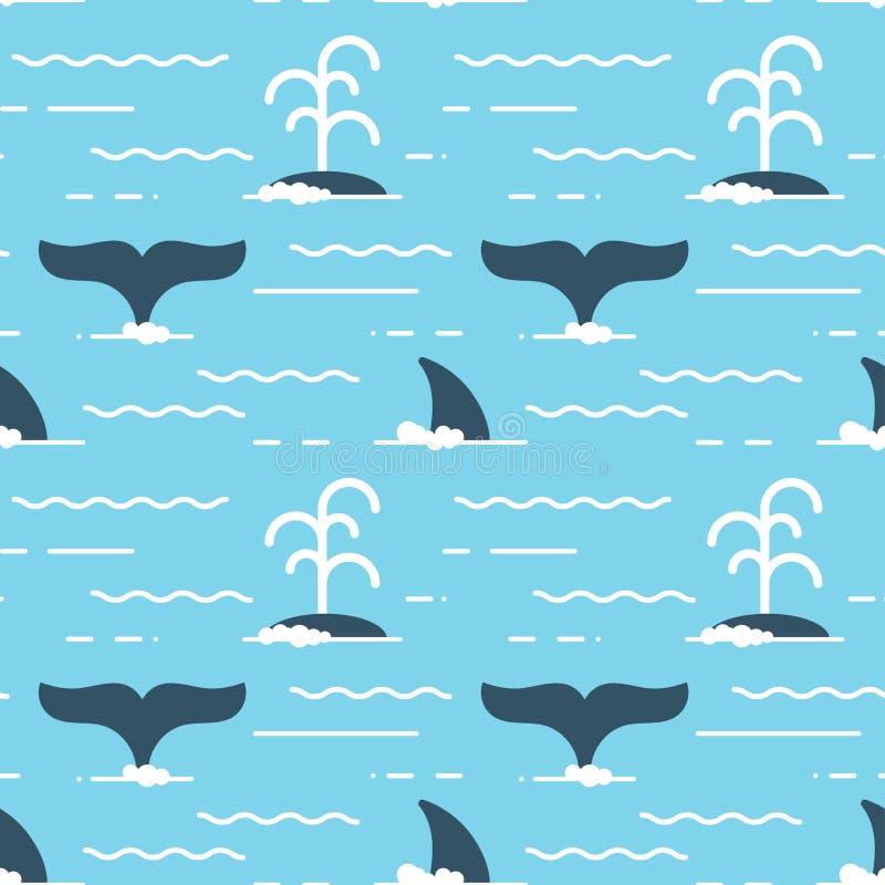Vector el modelo inconsútil con las aletas de la ballena sobre el agua ilustración del vector