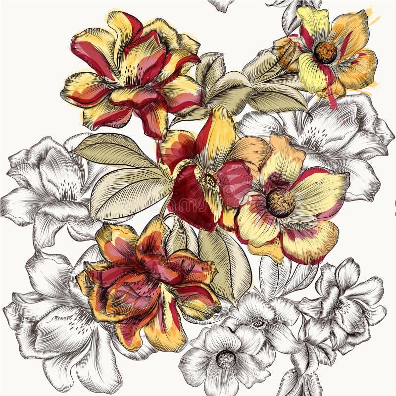 Download Vector El Modelo Inconsútil Con Las Flores Color De Rosa En Grabado Y Waterc Ilustración del Vector - Ilustración de bastante, ornamento: 64210380