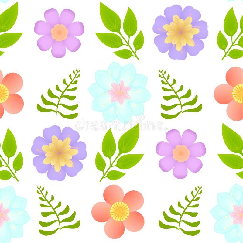 Vector el modelo inconsútil con las flores y las hojas hermosas en fondo transparente imagenes de archivo