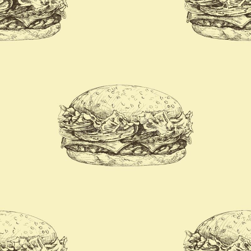 Vector el modelo inconsútil con las hamburguesas deliciosas dibujadas mano stock de ilustración