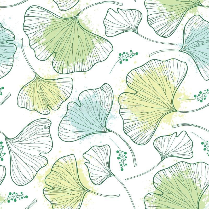 Vector el modelo inconsútil con las hojas del biloba del Gingko o del Ginkgo del esquema y borre en verde en colores pastel en el stock de ilustración