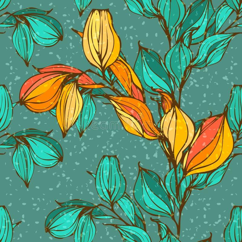 Vector el modelo inconsútil con las hojas del invierno y de otoño stock de ilustración