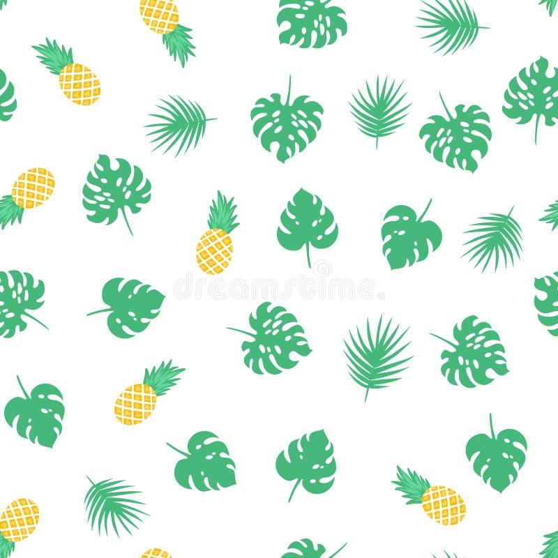 Vector el modelo inconsútil con las hojas y las piñas tropicales verdes libre illustration