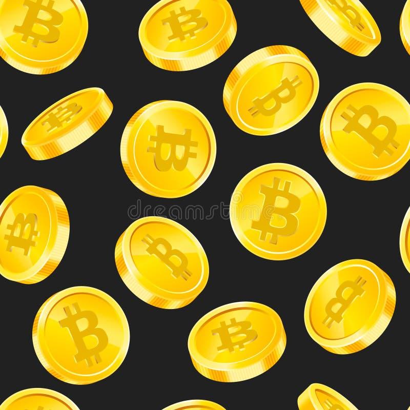 Vector el modelo inconsútil con las monedas de oro de Bitcoin en diversos ángulos en fondo negro Concepto del dinero de la moneda stock de ilustración