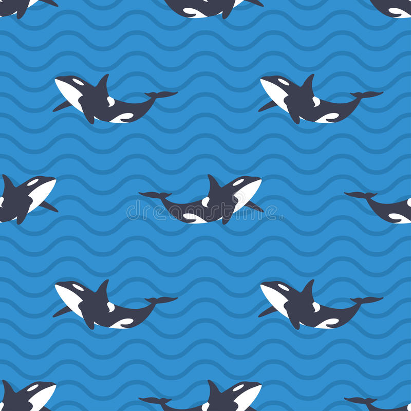 Vector el modelo inconsútil con las orcas o las orcas en el mar libre illustration