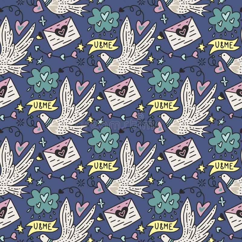 Vector el modelo inconsútil con las palomas blancas lindas, las letras del amor y los corazones ilustración del vector