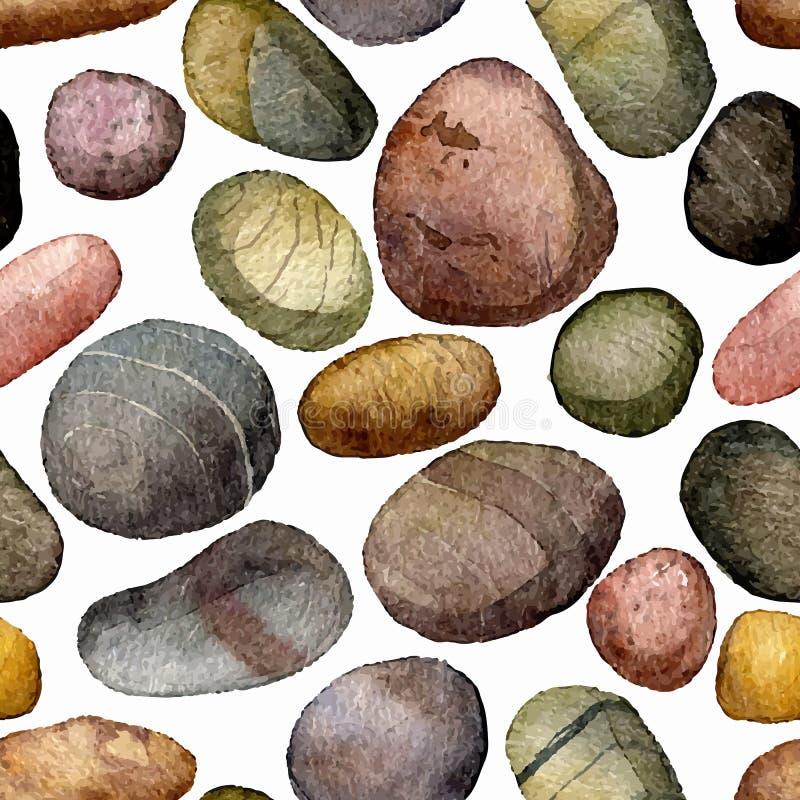 Vector el modelo inconsútil con las piedras del mar que dibujan en acuarela libre illustration