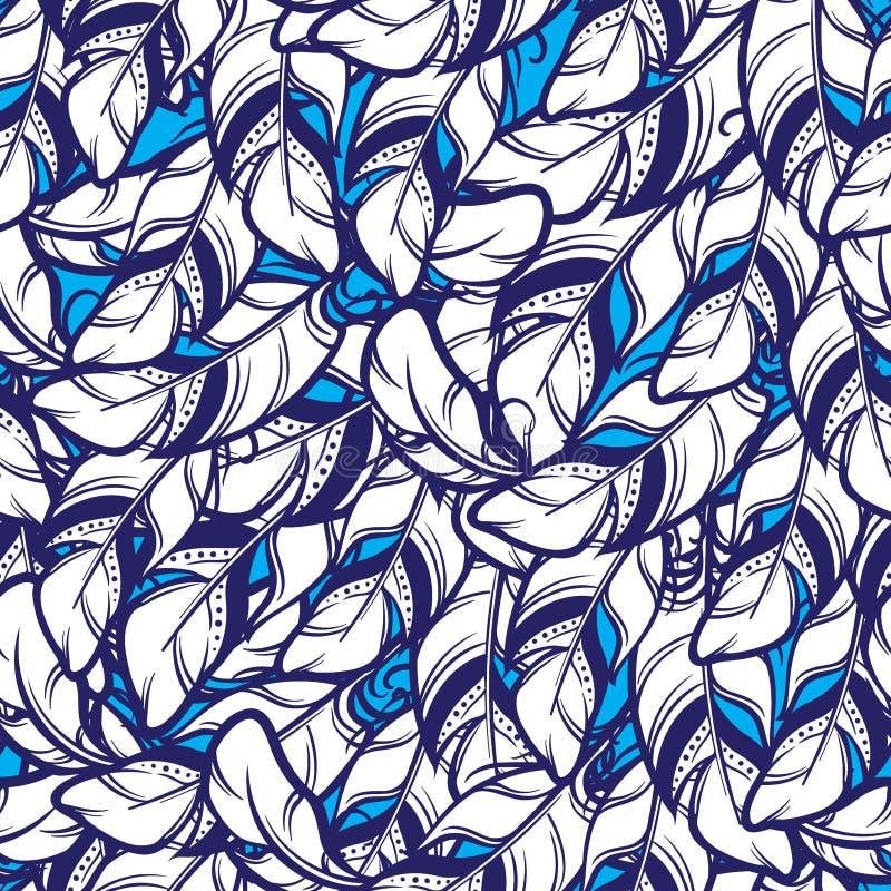 Vector el modelo inconsútil con las plumas blancas en fondo azul stock de ilustración