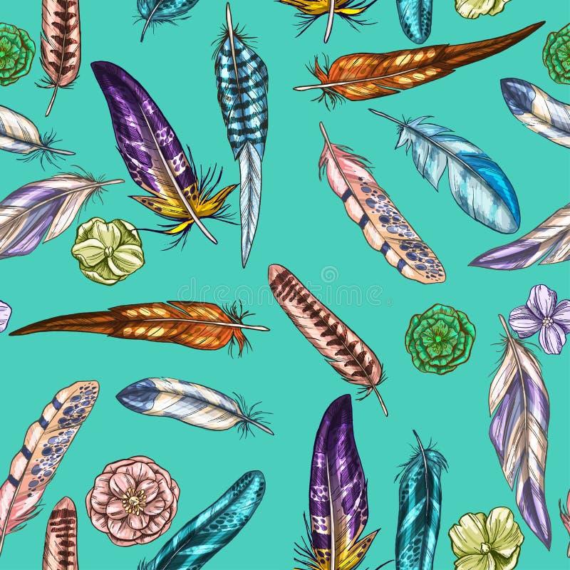 Vector el modelo inconsútil con las plumas de pájaro detalladas coloridas en un fondo azul libre illustration