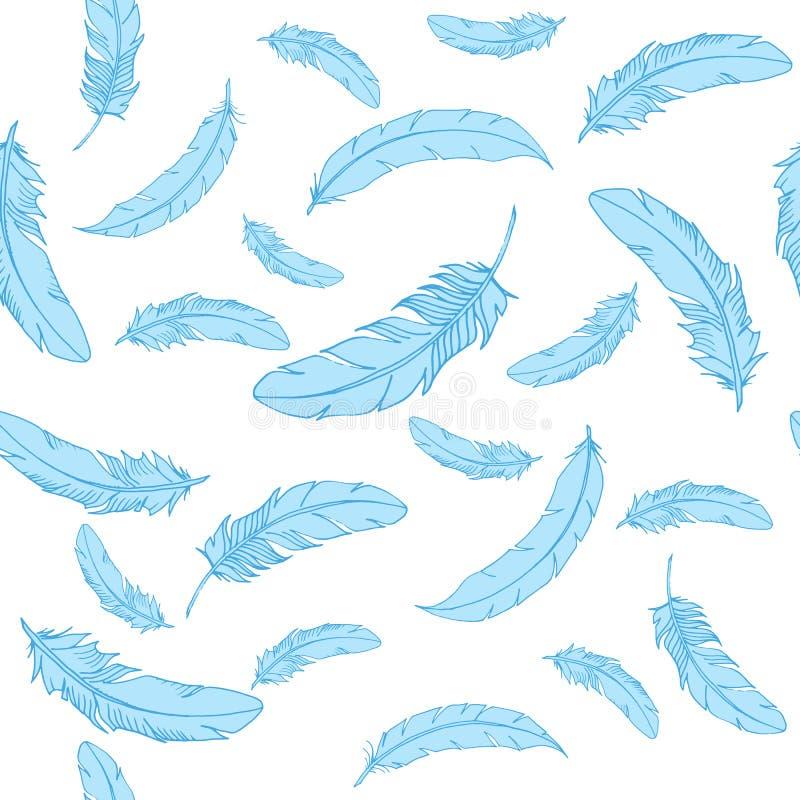 Vector el modelo inconsútil con las plumas que caen azules en el fondo blanco en estilo lindo de la historieta Ilustración drenad ilustración del vector