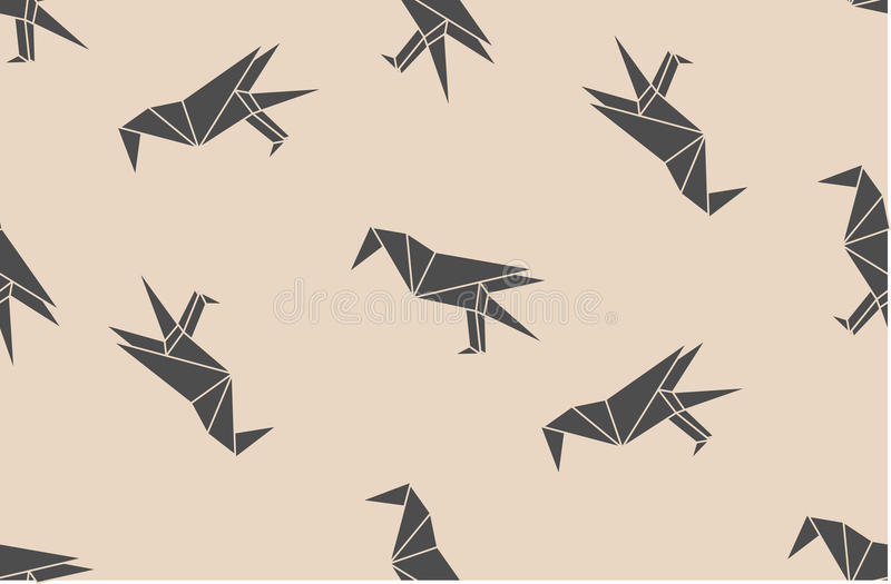 Vector el modelo inconsútil con las siluetas lineares de los pájaros del cuervo del negro japonés de la papiroflexia stock de ilustración