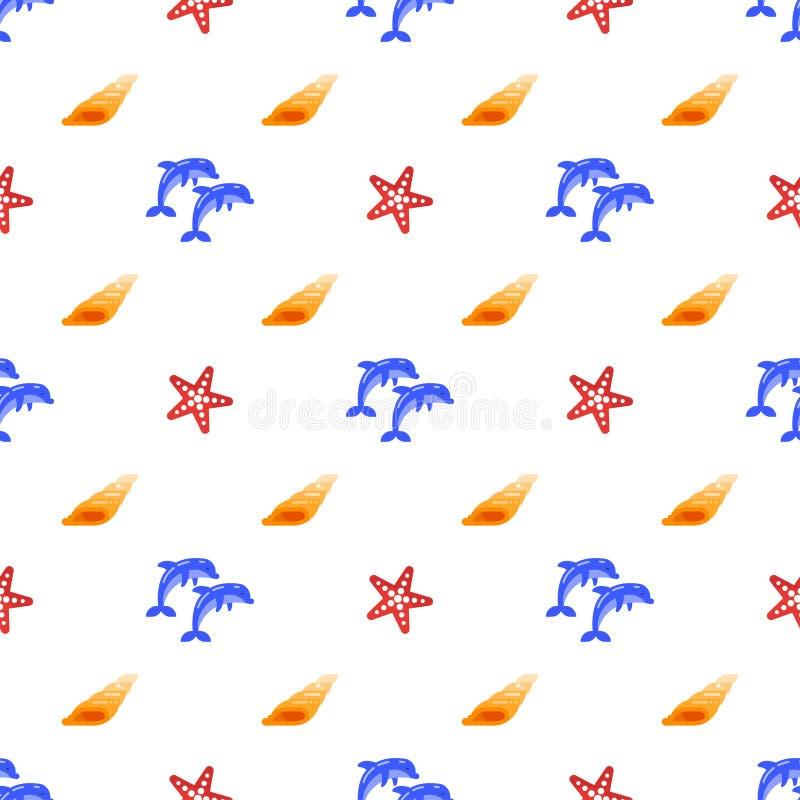 Vector el modelo inconsútil con los delfínes, las cáscaras del mar y las estrellas de mar stock de ilustración