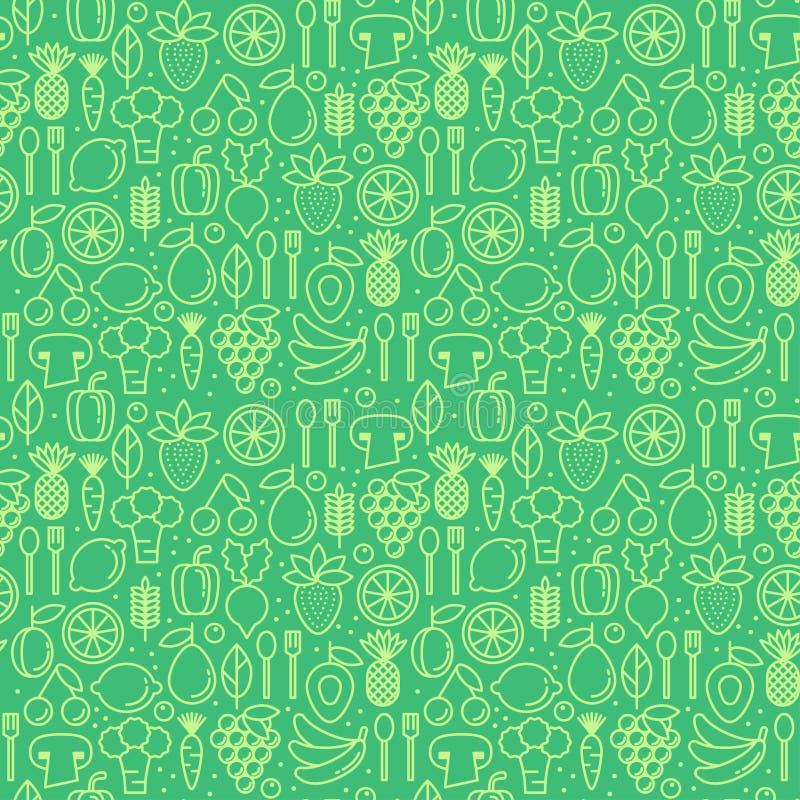 Vector el modelo inconsútil con los iconos de las frutas sanas del eco ilustración del vector