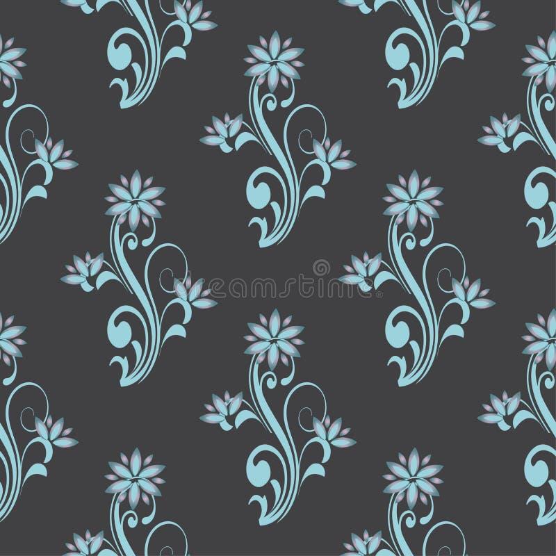 Vector el modelo inconsútil con los ornamentos decorativos de la curva floral El contexto elegante de los temas de la flor para l stock de ilustración