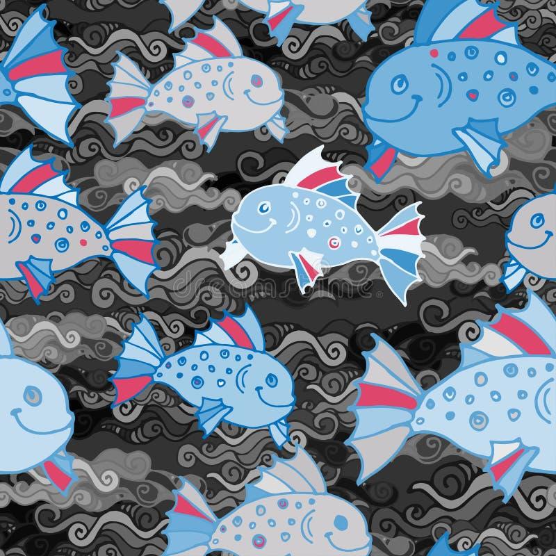 Vector el modelo inconsútil con los pescados divertidos dibujados mano en estilo del bosquejo Fondo marino sin fin decorativo Tel stock de ilustración