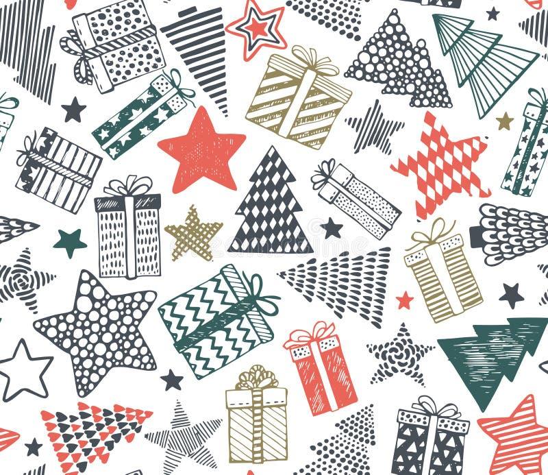 Vector el modelo inconsútil con los presentes, las estrellas y los árboles de navidad libre illustration