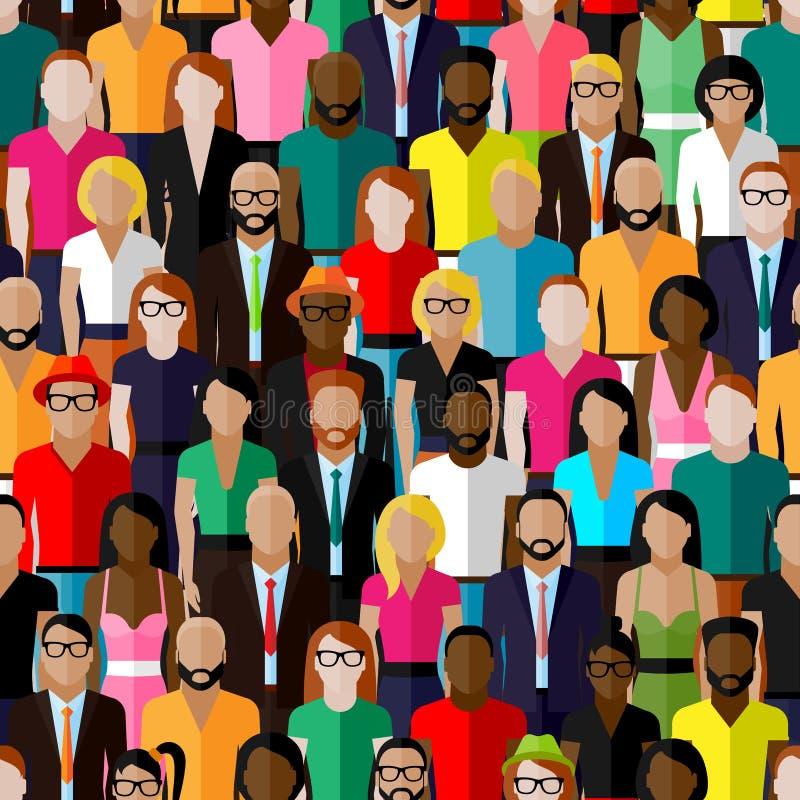 Vector el modelo inconsútil con un grupo grande de hombres y de mujeres ejemplo de los miembros de la sociedad población libre illustration