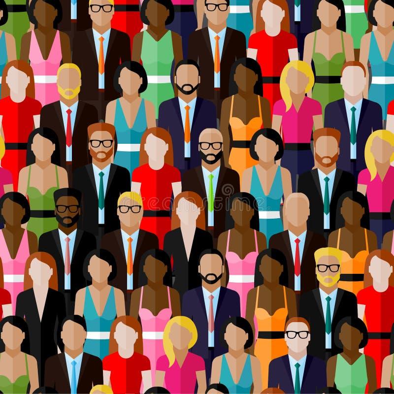 Vector el modelo inconsútil con un grupo grande de hombres y de mujeres ejemplo de los miembros de la sociedad población comunida ilustración del vector