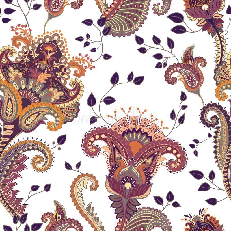 Vector el modelo inconsútil Contexto floral indio paisley Estilo de la manera Diseño para la tela libre illustration