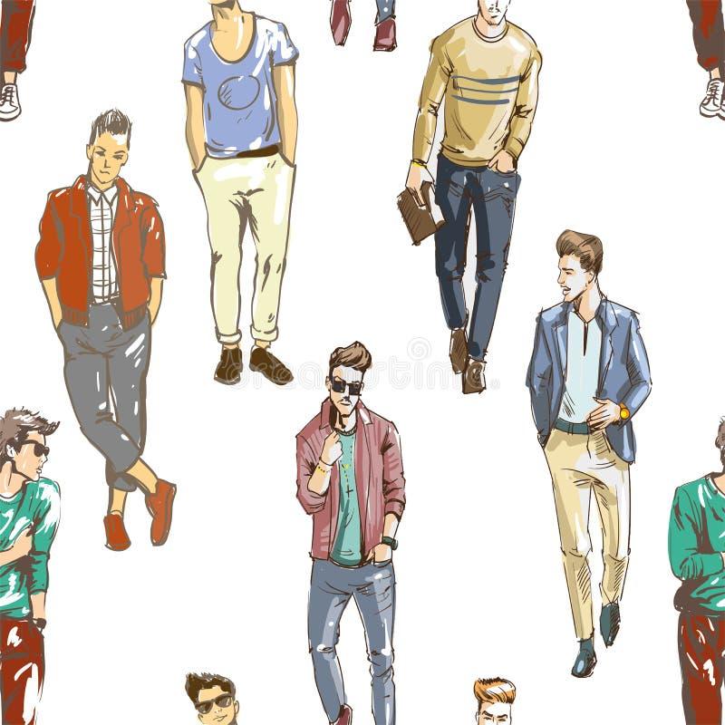Vector el modelo inconsútil de hombres de moda dibujados mano en estilo sport moderno Fondo para el uso en diseño, sitio web libre illustration