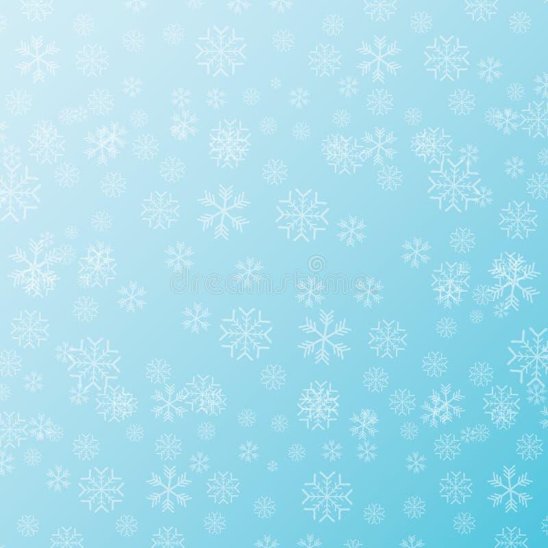 Vector el modelo inconsútil de la Navidad del invierno con los copos de nieve en fondo azul Contexto del invierno o diseño de la  stock de ilustración
