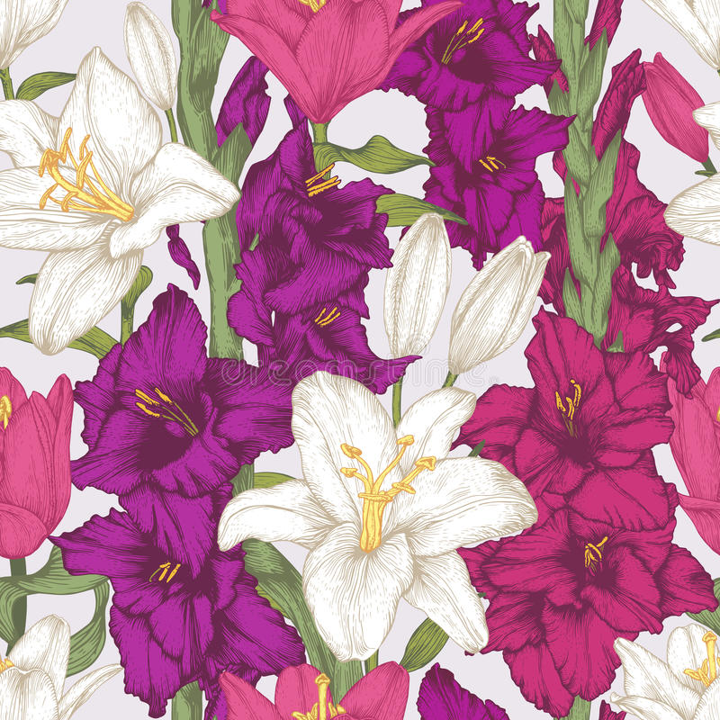 Vector el modelo inconsútil de las flores con las flores del gladiolo y los lirios blancos dibujados mano libre illustration