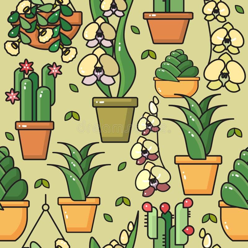 Vector el modelo inconsútil de las plantas de la casa en potes de cerámica stock de ilustración