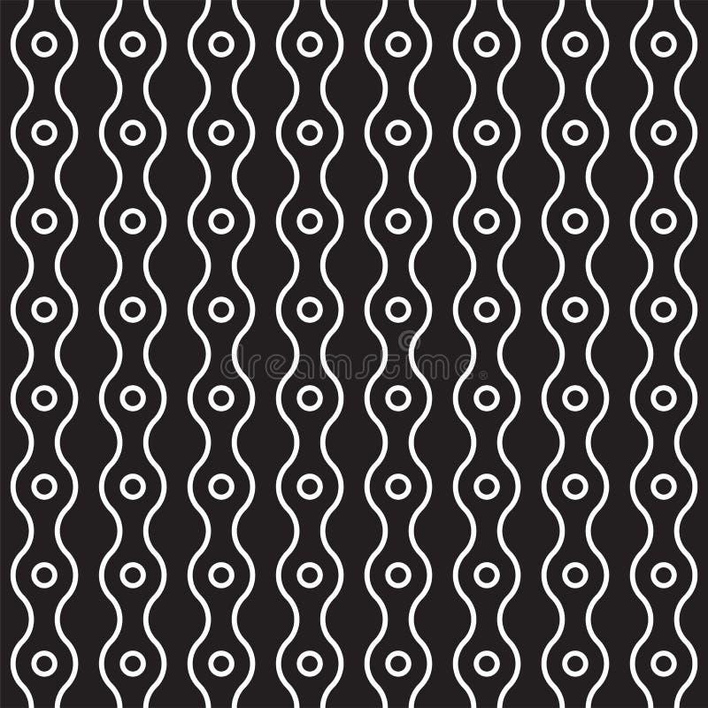 Vector el modelo inconsútil de los anillos y de las líneas onduladas verticales Fondo abstracto moderno simple Geométrico monocro stock de ilustración