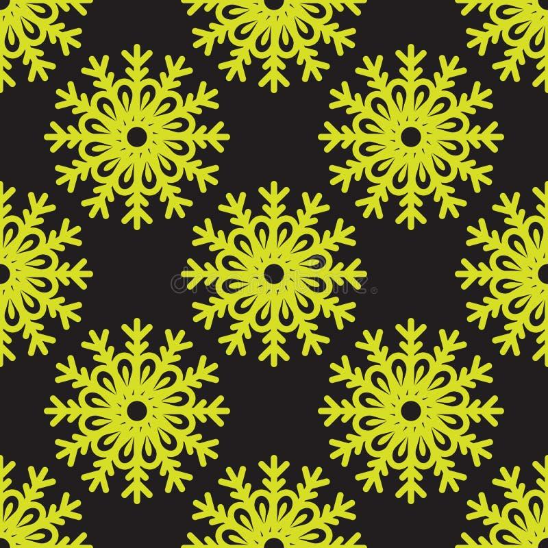 Vector el modelo inconsútil de los copos de nieve lindos en fondo negro libre illustration
