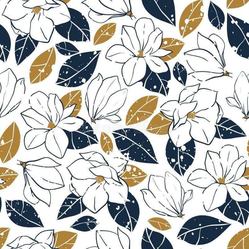 Vector el modelo inconsútil de moda con los elementos botánicos en estilo del vintage La magnolia florece, florece y se va en azu stock de ilustración